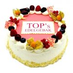 bedrijfts taart met logo of foto gemaakt in de patisserie van tops edelgebak in bilthoven, soest en zeist